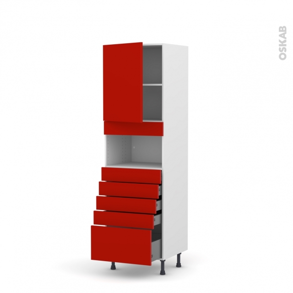 GINKO Rouge - Colonne MO niche 36/38 N°2159  - 1 porte 5 tiroirs - L60xH195xP58