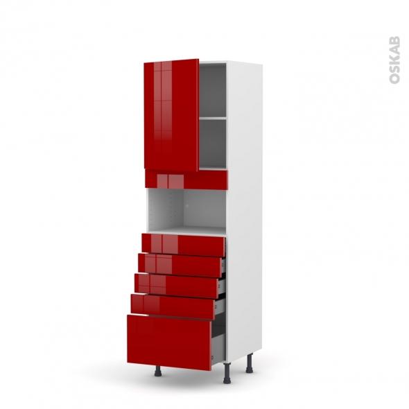 Colonne de cuisine N°2159 - MO encastrable niche 36/38 - STECIA Rouge - 1 porte 5 tiroirs - L60 x H195 x P58 cm