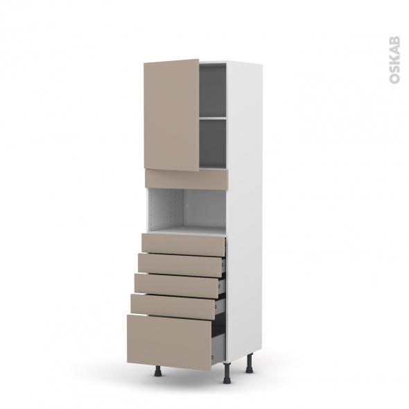 Colonne de cuisine N°2159 - MO encastrable niche 36/38 - GINKO Taupe - 1 porte 5 tiroirs - L60 x H195 x P58 cm