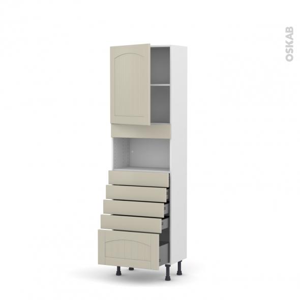 SILEN Argile - Colonne MO niche 36/38 N°2159  - Prof.37  1 porte 5 tiroirs - L60xH195xP37 - gauche