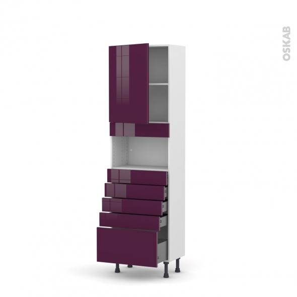 Colonne de cuisine N°2159 - MO encastrable niche 36/38 - KERIA Aubergine - 1 porte 5 tiroirs - L60 x H195 x P37 cm