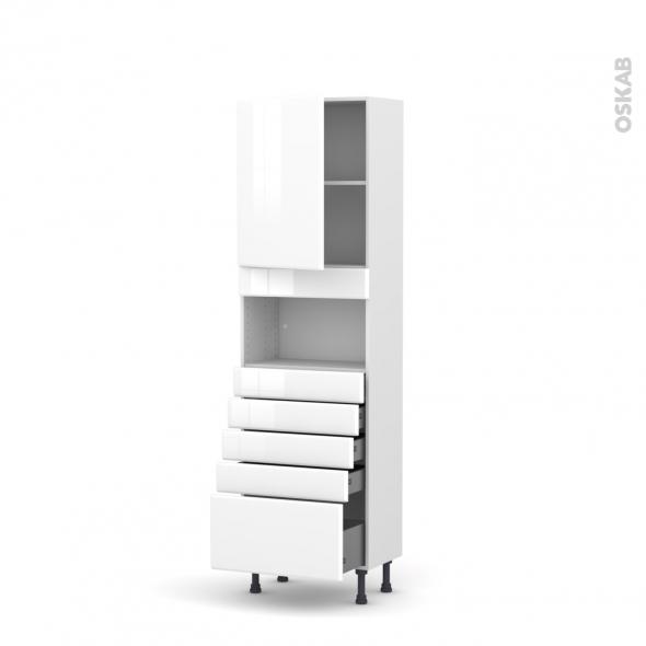 Colonne de cuisine N°2159 - MO encastrable niche 36/38 - IRIS Blanc - 1 porte 5 tiroirs - L60 x H195 x P37 cm