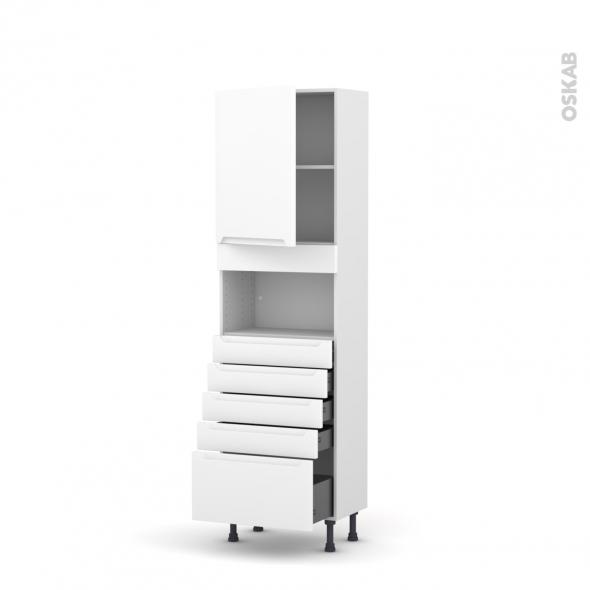 Colonne de cuisine N°2159 - MO encastrable niche 36/38 - PIMA Blanc - 1 porte 5 tiroirs - L60 x H195 x P37 cm