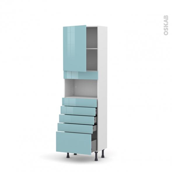 Colonne de cuisine N°2159 - MO encastrable niche 36/38 - KERIA Bleu - 1 porte 5 tiroirs - L60 x H195 x P37 cm