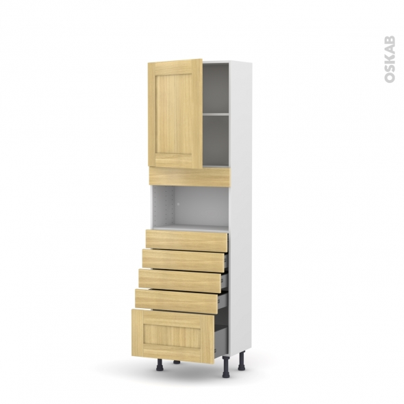 BASILIT Bois Brut - Colonne MO niche 36/38 N°2159  - Prof.37  1 porte 5 tiroirs - L60xH195xP37