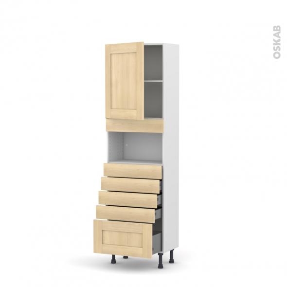 BETULA Bouleau - Colonne MO niche 36/38 N°2159  - Prof.37  1 porte 5 tiroirs - L60xH195xP37