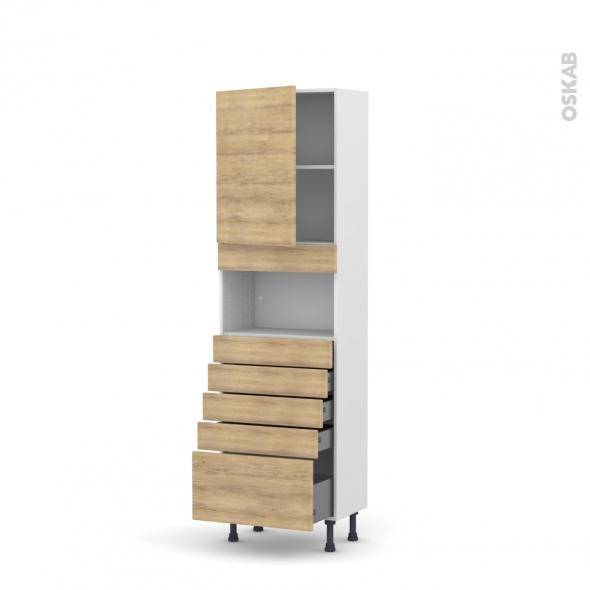 Colonne de cuisine N°2159 - MO encastrable niche 36/38 - HOSTA Chêne naturel - 1 porte 5 tiroirs - L60 x H195 x P37 cm