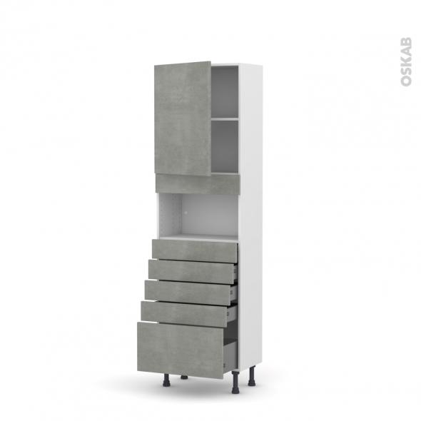 Colonne de cuisine N°2159 - MO encastrable niche 36/38 - FAKTO Béton - 1 porte 5 tiroirs - L60 x H195 x P37 cm