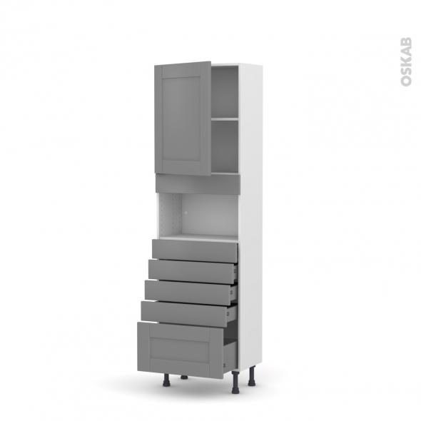 Colonne de cuisine N°2159 - MO encastrable niche 36/38 - FILIPEN Gris - 1 porte 5 tiroirs - L60 x H195 x P37 cm