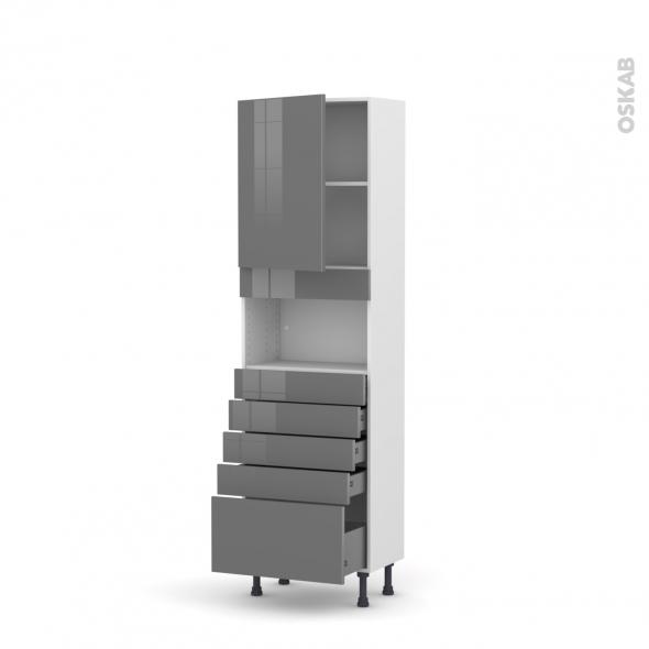 Colonne de cuisine N°2159 - MO encastrable niche 36/38 - STECIA Gris - 1 porte 5 tiroirs - L60 x H195 x P37 cm