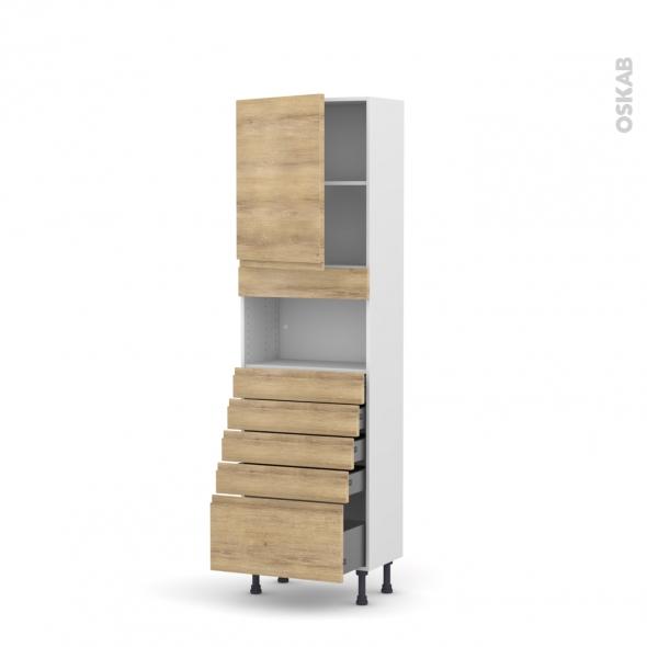 Colonne de cuisine N°2159 - MO encastrable niche 36/38 - IPOMA Chêne naturel - 1 porte 5 tiroirs - L60 x H195 x P37 cm