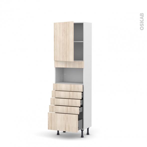 Colonne de cuisine N°2159 - MO encastrable niche 36/38 - IKORO Chêne clair - 1 porte 5 tiroirs - L60 x H195 x P37 cm