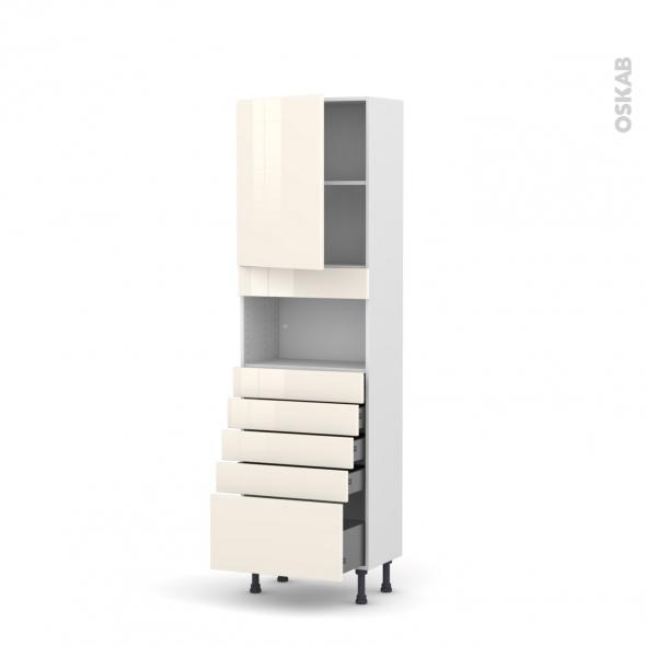 Colonne de cuisine N°2159 - MO encastrable niche 36/38 - KERIA Ivoire - 1 porte 5 tiroirs - L60 x H195 x P37 cm