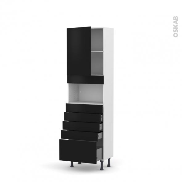 Colonne de cuisine N°2159 - MO encastrable niche 36/38 - GINKO Noir - 1 porte 5 tiroirs - L60 x H195 x P37 cm