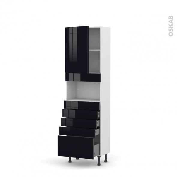 Colonne de cuisine N°2159 - MO encastrable niche 36/38 - KERIA Noir - 1 porte 5 tiroirs - L60 x H195 x P37 cm