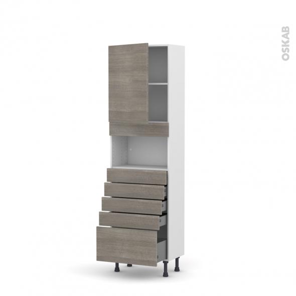 STILO Noyer Naturel - Colonne MO niche 36/38 N°2159  - Prof.37  1 porte 5 tiroirs - L60xH195xP37