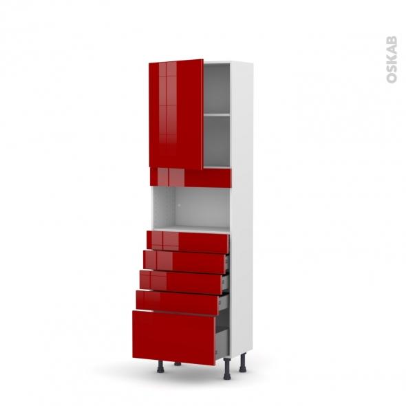 Colonne de cuisine N°2159 - MO encastrable niche 36/38 - STECIA Rouge - 1 porte 5 tiroirs - L60 x H195 x P37 cm
