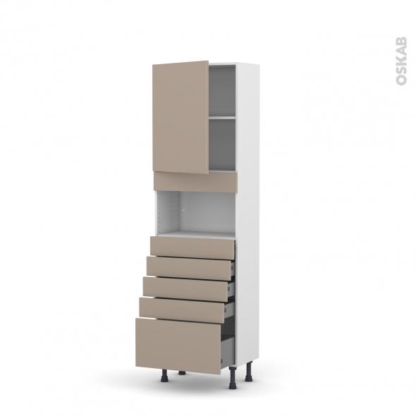 Colonne de cuisine N°2159 - MO encastrable niche 36/38 - GINKO Taupe - 1 porte 5 tiroirs - L60 x H195 x P37 cm