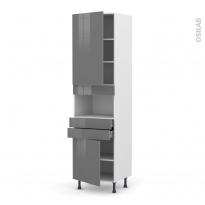 Colonne de cuisine N°2456 - MO encastrable niche 36/38 - STECIA Gris - 2 portes 2 tiroirs - L60 x H217 x P58 cm