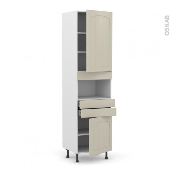 SILEN Argile - Colonne MO niche 36/38 N°2456  - 2 portes 2 tiroirs - L60xH217xP58 - droite