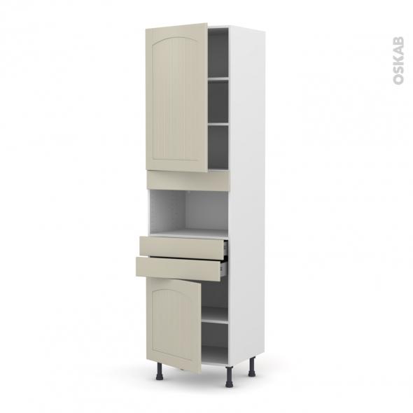 SILEN Argile - Colonne MO niche 36/38 N°2456  - 2 portes 2 tiroirs - L60xH217xP58 - gauche