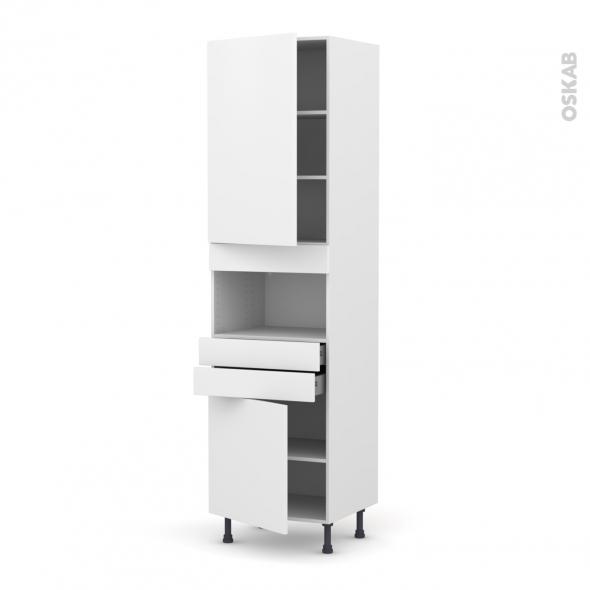 Colonne de cuisine N°2456 - MO encastrable niche 36/38 - GINKO Blanc - 2 portes 2 tiroirs - L60 x H217 x P58 cm