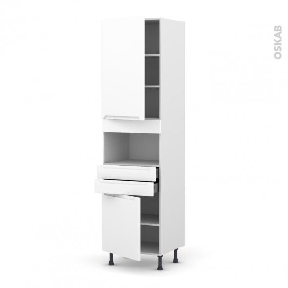 Colonne de cuisine N°2456 - MO encastrable niche 36/38 - PIMA Blanc - 2 portes 2 tiroirs - L60 x H217 x P58 cm