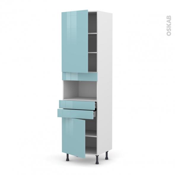 Colonne de cuisine N°2456 - MO encastrable niche 36/38 - KERIA Bleu - 2 portes 2 tiroirs - L60 x H217 x P58 cm