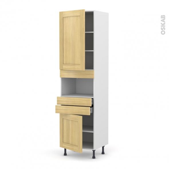 BASILIT Bois Brut - Colonne MO niche 36/38 N°2456  - 2 portes 2 tiroirs - L60xH217xP58