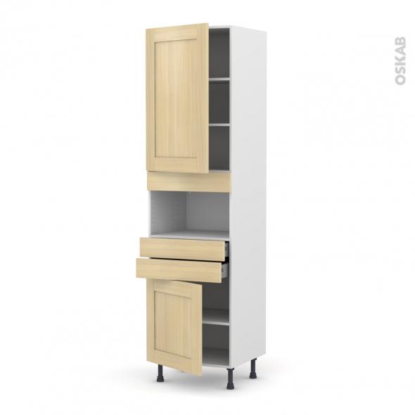 BASILIT Bois Vernis - Colonne MO niche 36/38 N°2456  - 2 portes 2 tiroirs - L60xH217xP58