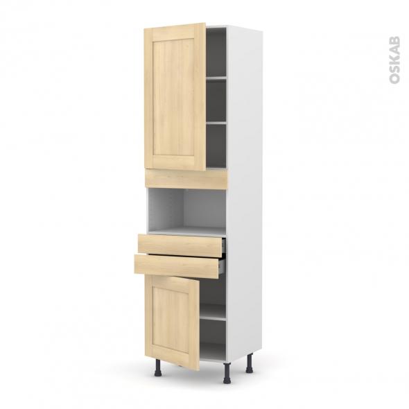 BETULA Bouleau - Colonne MO niche 36/38 N°2456  - 2 portes 2 tiroirs - L60xH217xP58
