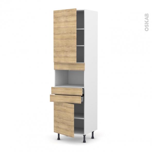 Colonne de cuisine N°2456 - MO encastrable niche 36/38 - HOSTA Chêne naturel - 2 portes 2 tiroirs - L60 x H217 x P58 cm