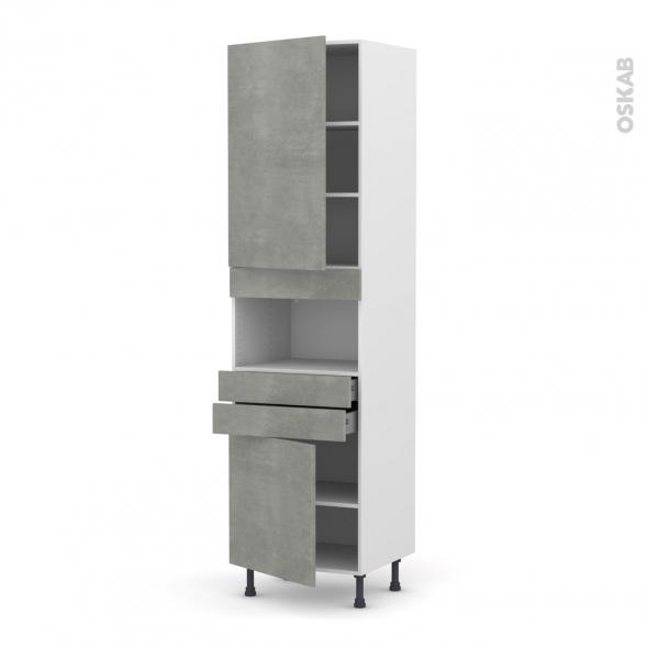 Colonne de cuisine N°2156 - MO encastrable niche 36/38 - FAKTO Béton - 2 portes 2 tiroirs - L60 x H195 x P58 cm