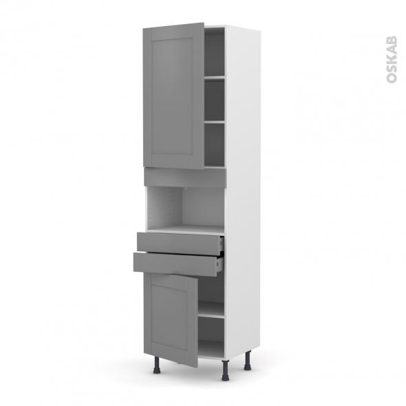 FILIPEN Gris - Colonne MO niche 36/38 N°2456  - 2 portes 2 tiroirs - L60xH217xP58
