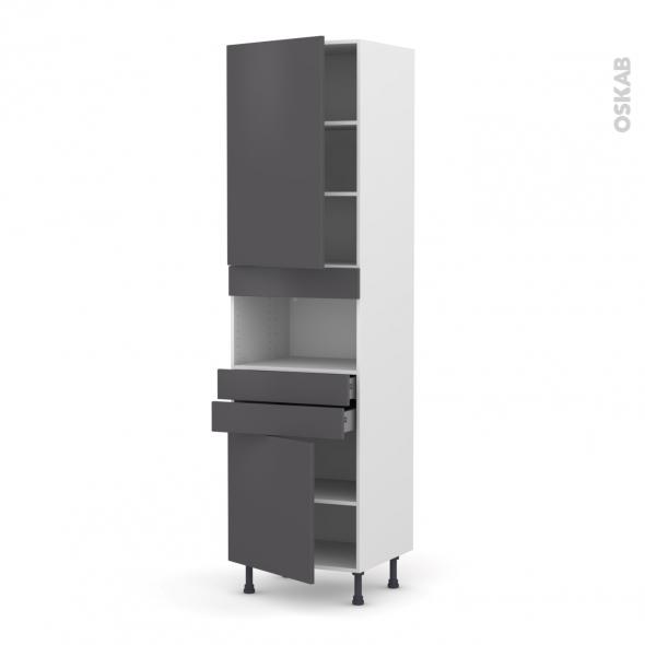 Colonne de cuisine N°2456 - MO encastrable niche 36/38 - GINKO Gris - 2 portes 2 tiroirs - L60 x H217 x P58 cm