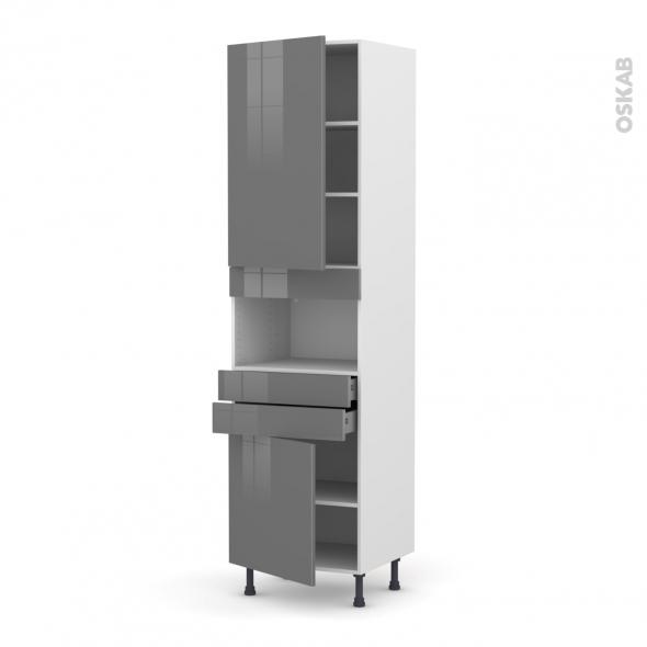 STECIA Gris - Colonne MO niche 36/38 N°2456  - 2 portes 2 tiroirs - L60xH217xP58