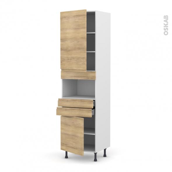 Colonne de cuisine N°2456 - MO encastrable niche 36/38 - IPOMA Chêne naturel - 2 portes 2 tiroirs - L60 x H217 x P58 cm