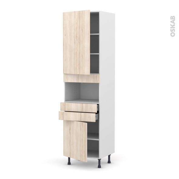 IKORO Chêne clair - Colonne MO niche 36/38 N°2456  - 2 portes 2 tiroirs - L60xH217xP58