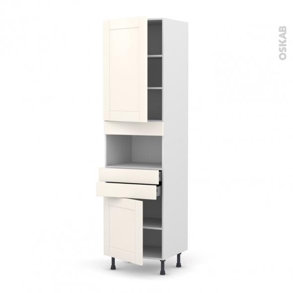 Colonne de cuisine N°2456 - MO encastrable niche 36/38 - FILIPEN Ivoire - 2 portes 2 tiroirs - L60 x H217 x P58 cm