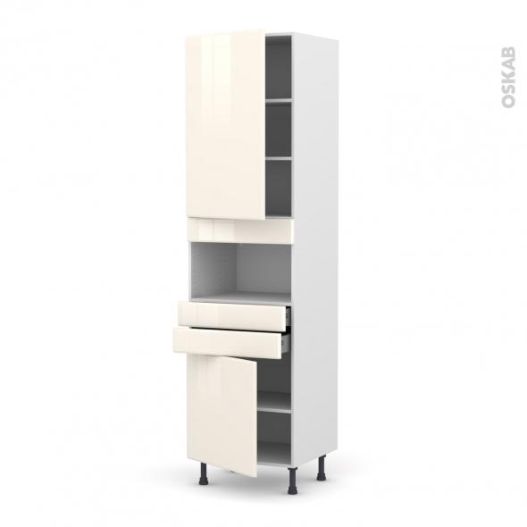 IRIS Ivoire - Colonne MO niche 36/38 N°2456  - 2 portes 2 tiroirs - L60xH217xP58