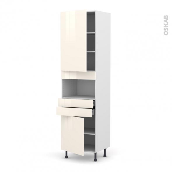 Colonne de cuisine N°2456 - MO encastrable niche 36/38 - KERIA Ivoire - 2 portes 2 tiroirs - L60 x H217 x P58 cm