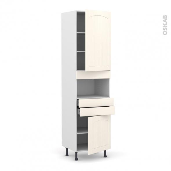 SILEN Ivoire - Colonne MO niche 36/38 N°2456  - 2 portes 2 tiroirs - L60xH217xP58 - droite