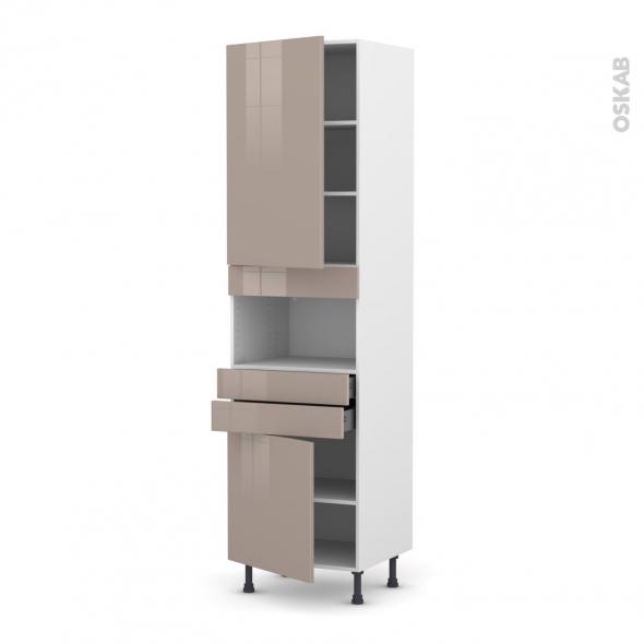 Colonne de cuisine N°2456 - MO encastrable niche 36/38 - KERIA Moka - 2 portes 2 tiroirs - L60 x H217 x P58 cm