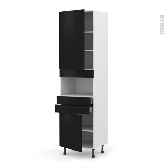 Colonne de cuisine N°2456 - MO encastrable niche 36/38 - GINKO Noir - 2 portes 2 tiroirs - L60 x H217 x P58 cm