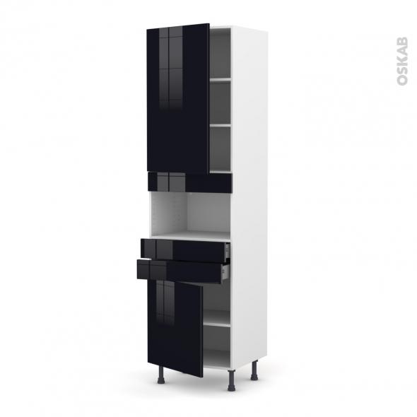 KERIA Noir - Colonne MO niche 36/38 N°2456  - 2 portes 2 tiroirs - L60xH217xP58