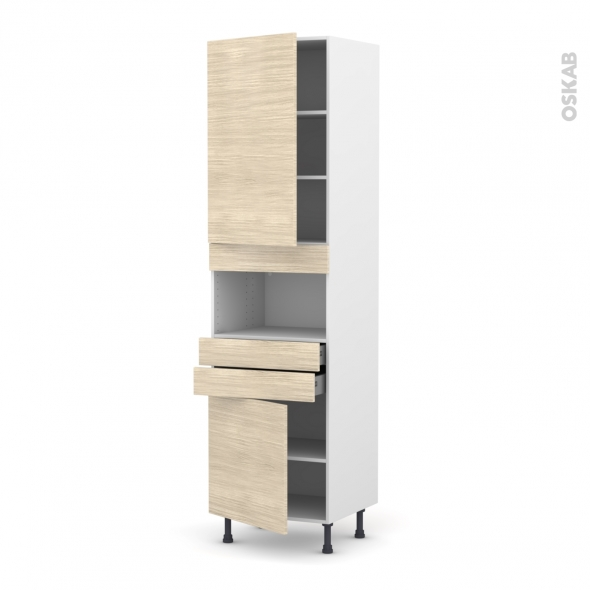 Colonne de cuisine N°2456 - MO encastrable niche 36/38 - STILO Noyer Blanchi - 2 portes 2 tiroirs - L60 x H217 x P58 cm