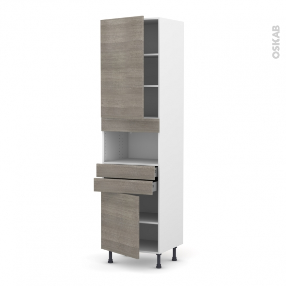STILO Noyer Naturel - Colonne MO niche 36/38 N°2456  - 2 portes 2 tiroirs - L60xH217xP58