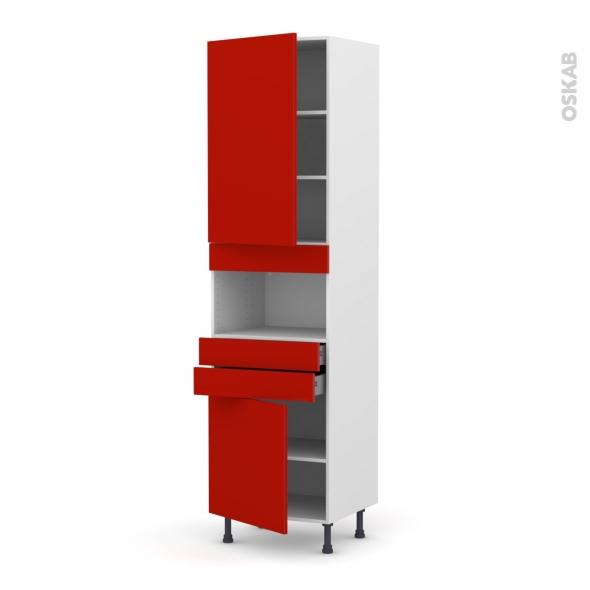 GINKO Rouge - Colonne MO niche 36/38 N°2456  - 2 portes 2 tiroirs - L60xH217xP58