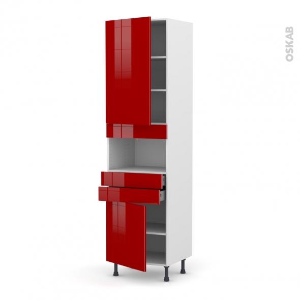Colonne de cuisine N°2456 - MO encastrable niche 36/38 - STECIA Rouge - 2 portes 2 tiroirs - L60 x H217 x P58 cm