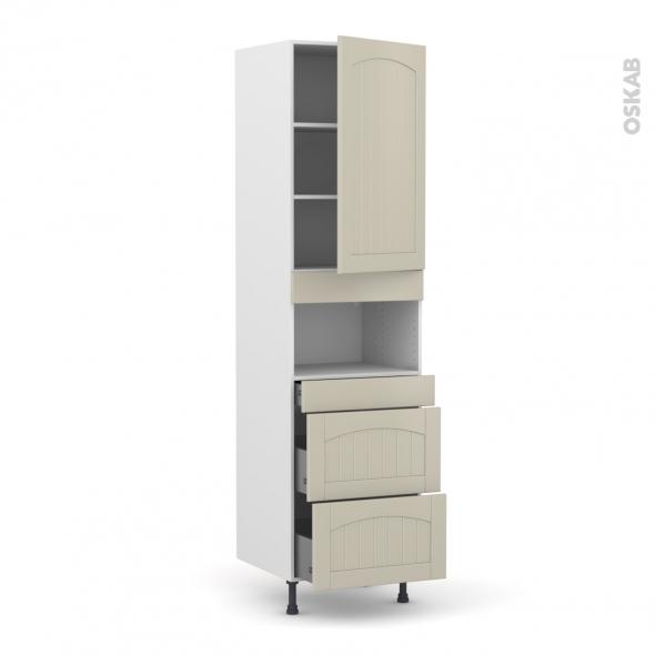 SILEN Argile - Colonne MO niche 36/38 N°2457  - 1 porte 3 tiroirs - L60xH217xP58 - droite